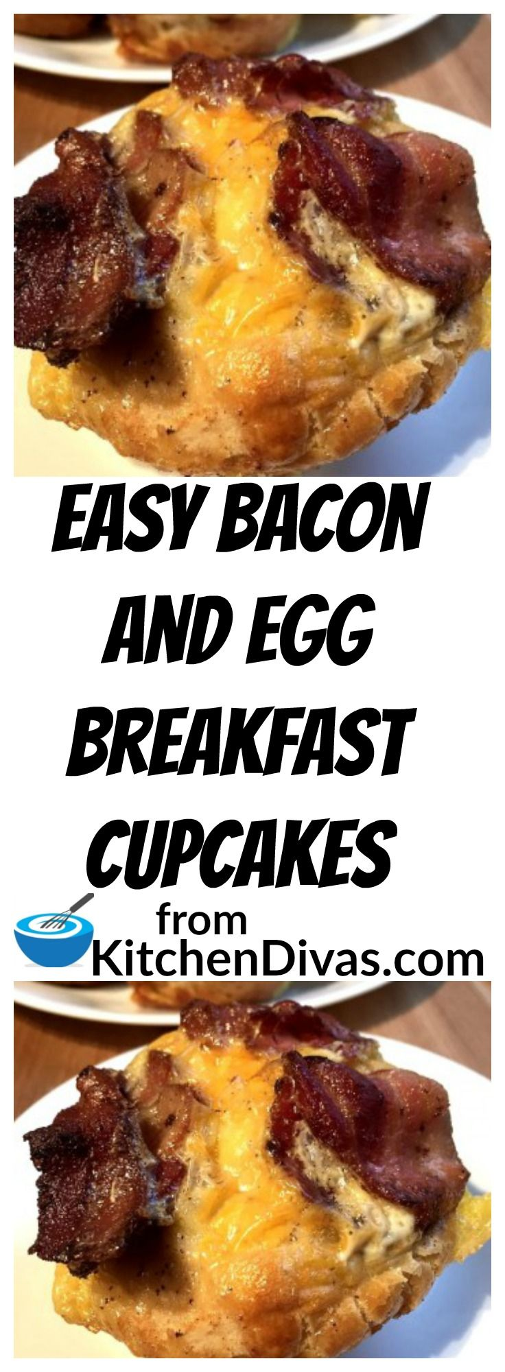 Awesome tasting and easy too! I always keep a tube of Pillsbury Grands Homestyle refrigerated buttermilk biscuits in the fridge and this is the recipe I make most often. You literally can use anything you have handy in your refrigerator to make these Bacon and Egg Breakfast Cupcakes taste different every time! Also, depending on who you are feeding, you can make each one different to accommodate different tastes. Eggs, bacon and cheese. A perfect combination. You have to give these a try!