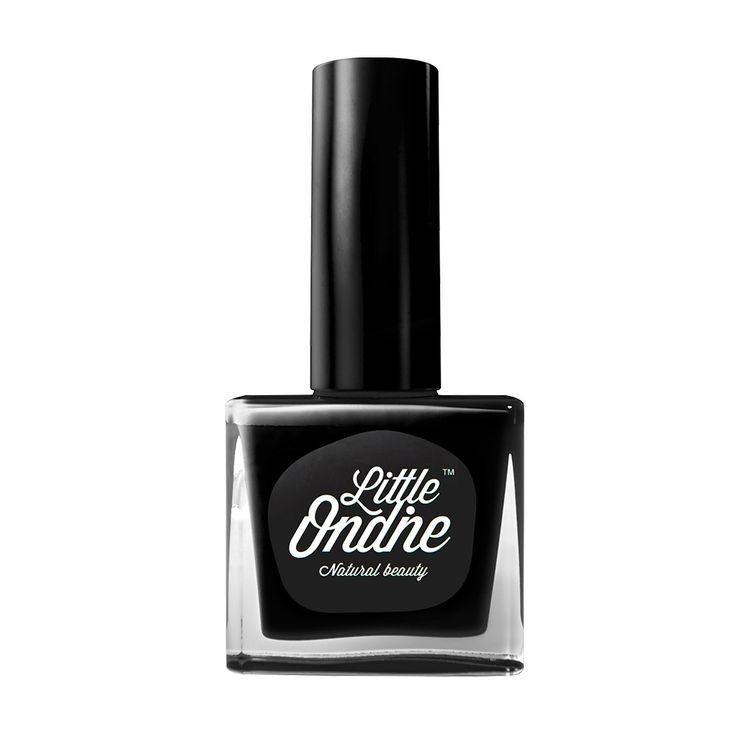 Back to Black is a classic and classy black. Click to discover Little Ondine's natural water-based nail polish. Odor free and easy peel off.