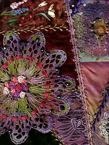dyed doilies and crazy quilting techniques
