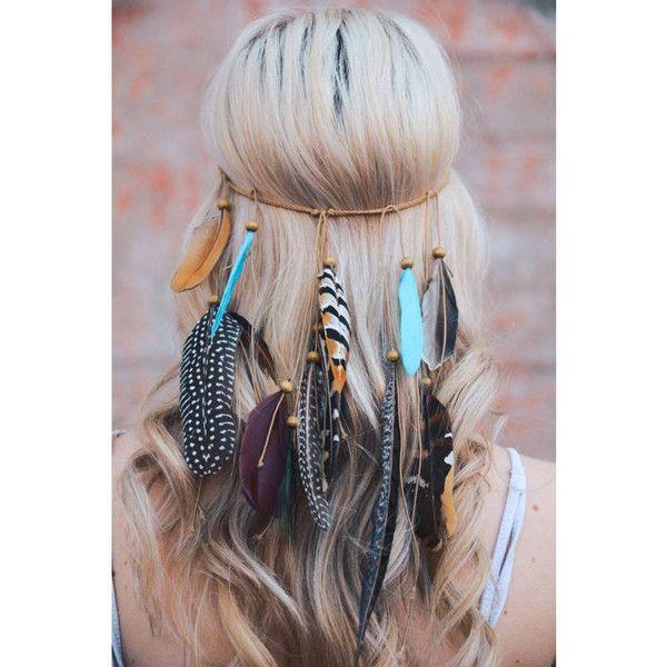 Feather Headband Coachella Boho Feather Headband Feather Headpiece... ($30) ❤ liked on Polyvore featuring accessories, hair accessories, hair, grey, headbands & turbans, bohemian headbands, crown headband, hair band headband, boho chic headbands and wide headbands