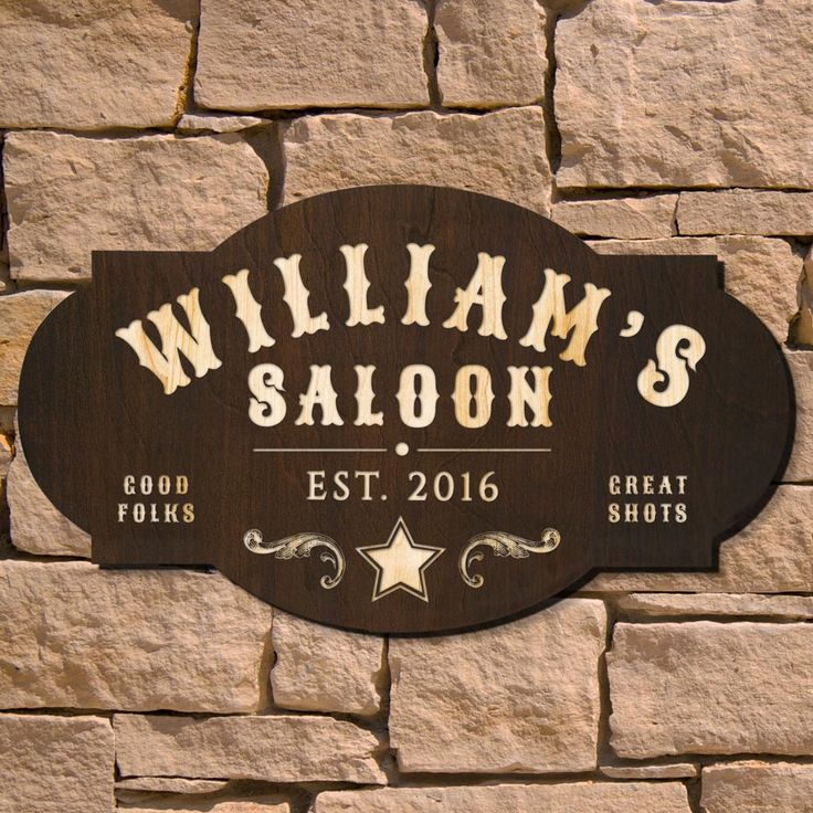 Saddle on up to this authentic-looking Wild West Saloon custom bar sign. Not even an outlaw sheriff will be able to deny the ramblin' beauty of these bar signs for home. Made from    thick birch wood...