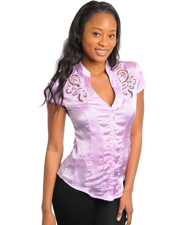Lilac Purple Career Silk Satin Button Up Cap Sleeve Blouse Shirt Top