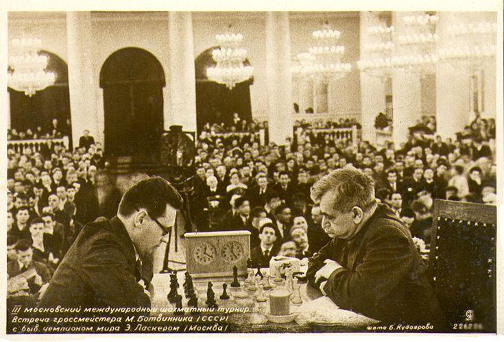 Lasker vs. Botvinnik in Moscow Tournament. 1936.