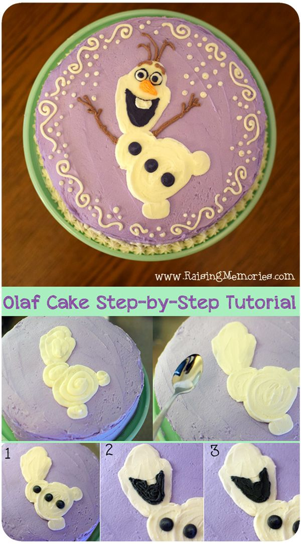 Step-By-Step instructions and photos of how to recreate this Olaf cake for a Frozen themed party! by www.RaisingMemories.com