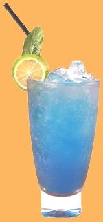 Bull Frog - Bacardi Rum, Smirnoff Red, Gin, Tequila, Blue Bols & Energy