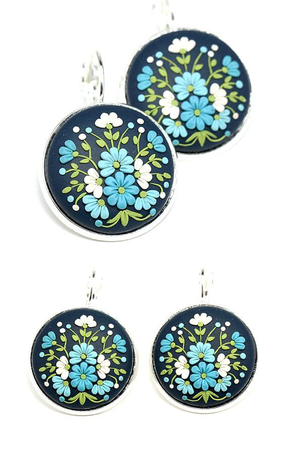 Floral Earrings with Polymer Clay Floral Embroidery by KittenUmka