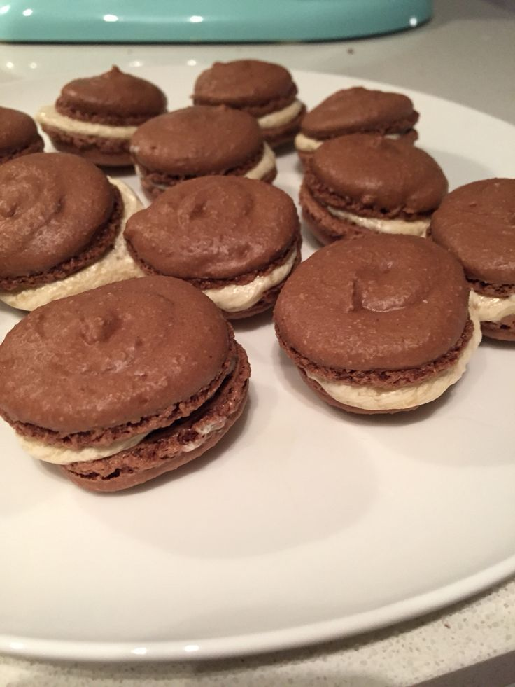 Chocolate macarons with baileys buttercream frosting