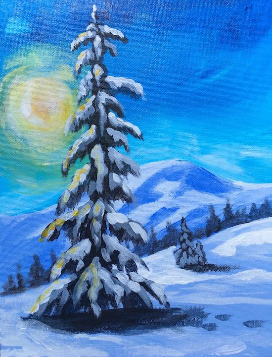 Lone Winter Tree Easy Paint Along Acrylic On Canvas Snowscape The Art Sherpa Theartsherpa