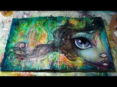 mixed media art journal page tutorial by Megan K Suarez 4-14-16 - YouTube
