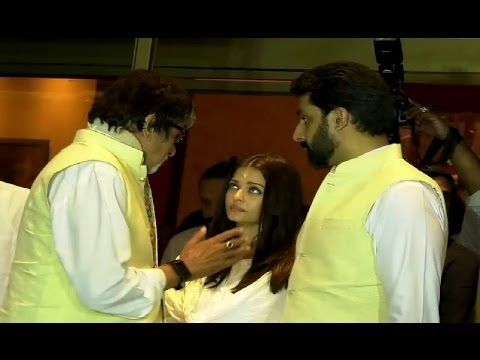 Amitabh Bachchan gives condolence to Aishwarya Rai at Krishnaraj Rai's prayer meet.