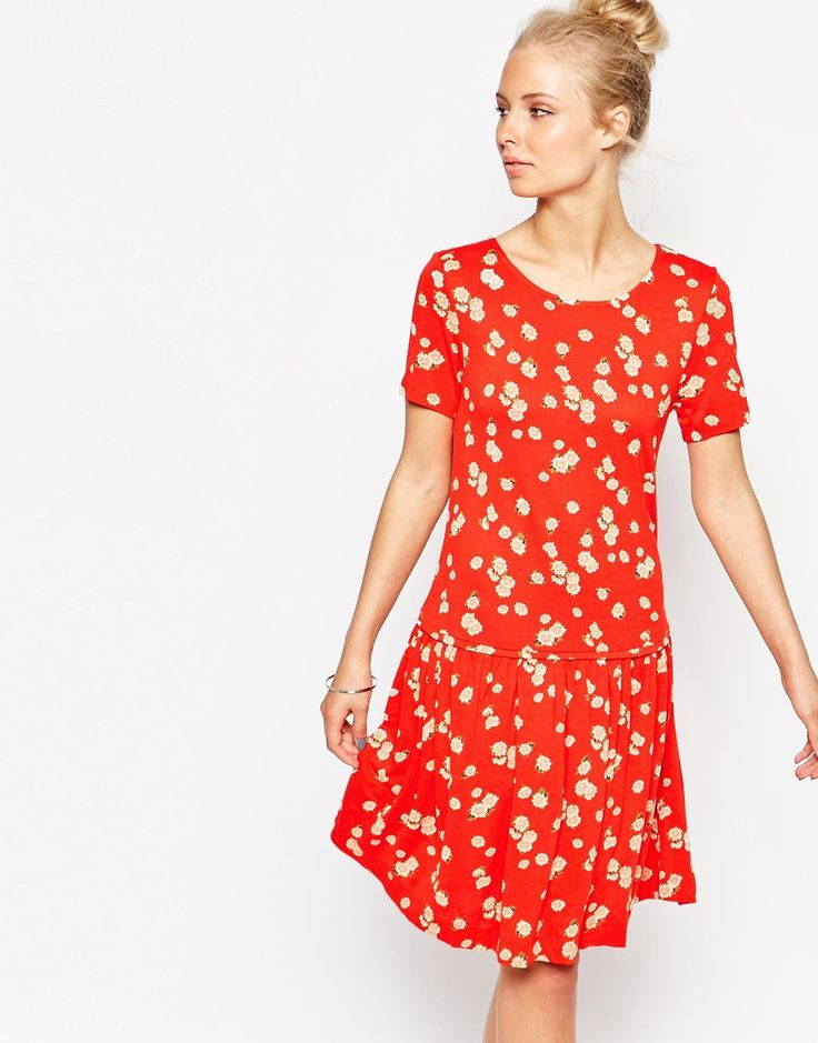 French Connection Floral Print Drop Waist Dress