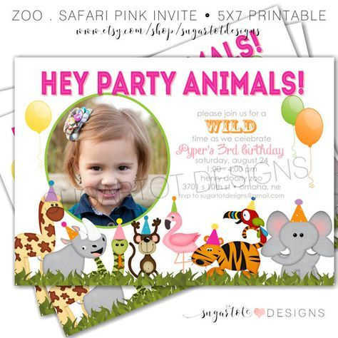 Join us for a wild time with this zoo, jungle safari themed invitation for your animal loving girl! This is a listing for a 5x7 print it yourself