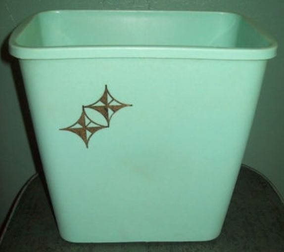 Mid century modern turquoise trashcan with gold atomic for Turquoise bathroom bin