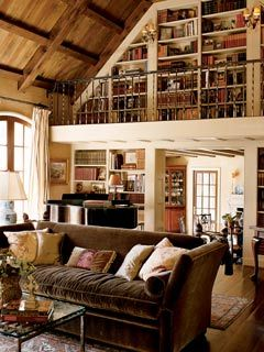 Quite truly my dream home -- library loft, rustic hardwood, grand piano... sigh.