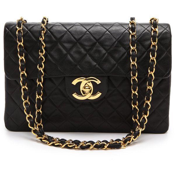 What Goes Around Comes Around Chanel Jumbo Flap Bag - Black ($6,300) ❤ liked on Polyvore featuring bags, handbags, purses, bolsas, chanel, vintage purses, quilted purses, leather hand bags, genuine leather handbags and chain handle handbags