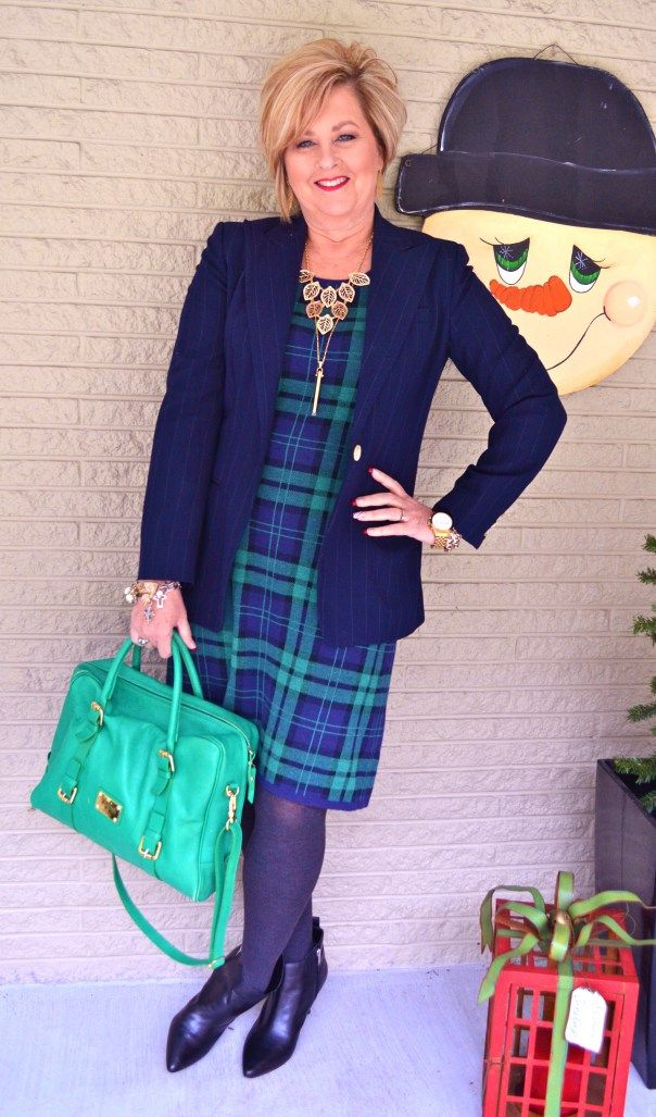 Tartan plaid dress  Fashion over 40 for the everyday woman @50isnotold.com