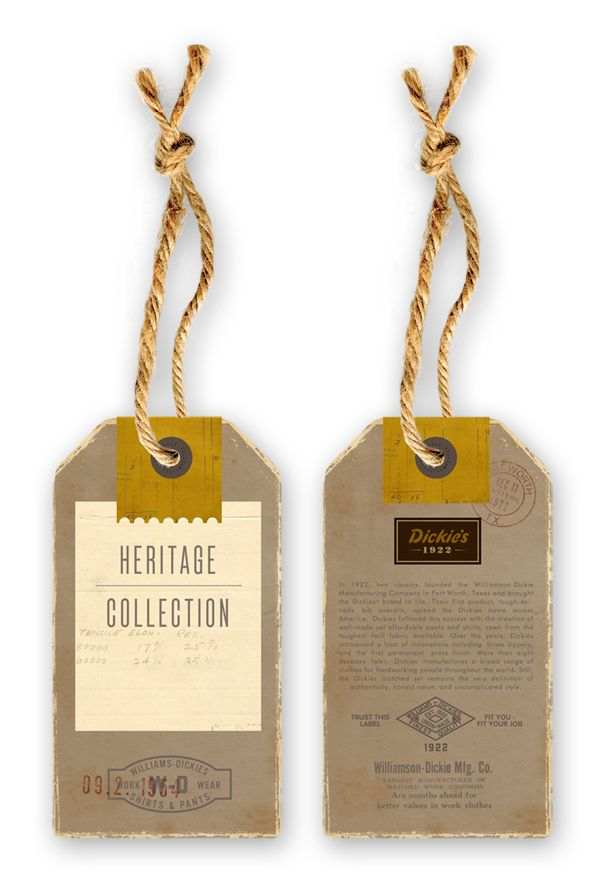 Dickies by Dustin WallaceDesign Inspiration, Business Cards, Tags Design, Hanging Tags, Dustin Wallace, Wine Bottle Tags, Brand Tags, Swings Tags, Labels Design