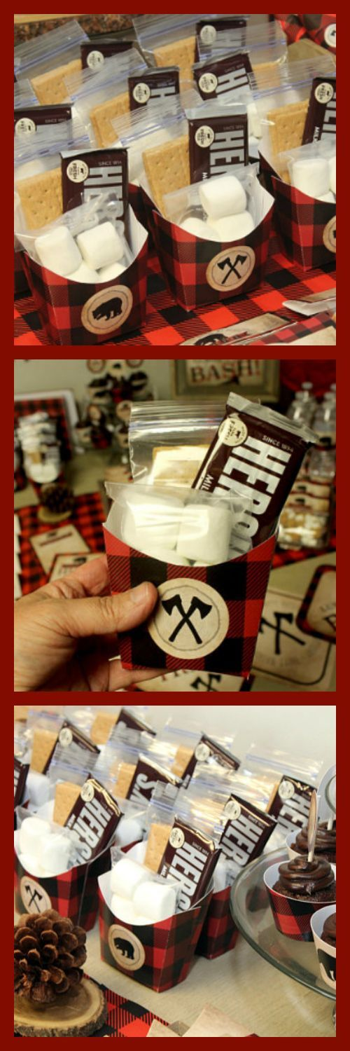 Smore Favor Box, Smore Favors, Lumberjack Birthday Printables, Lumberjack Party, Lumberjack Party Favors, DIGITAL #ad
