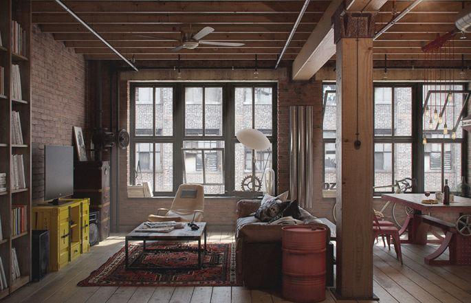 Home Tour: A Loft Apartment Bachelor Pad   Living Room