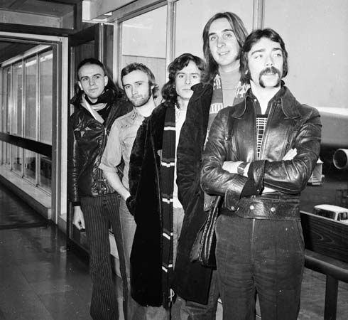 Photograph:The original members of Genesis were (left to right) Peter Gabriel, Phil Collins, Tony Banks, Mike Rutherford, and Steve Hackett.