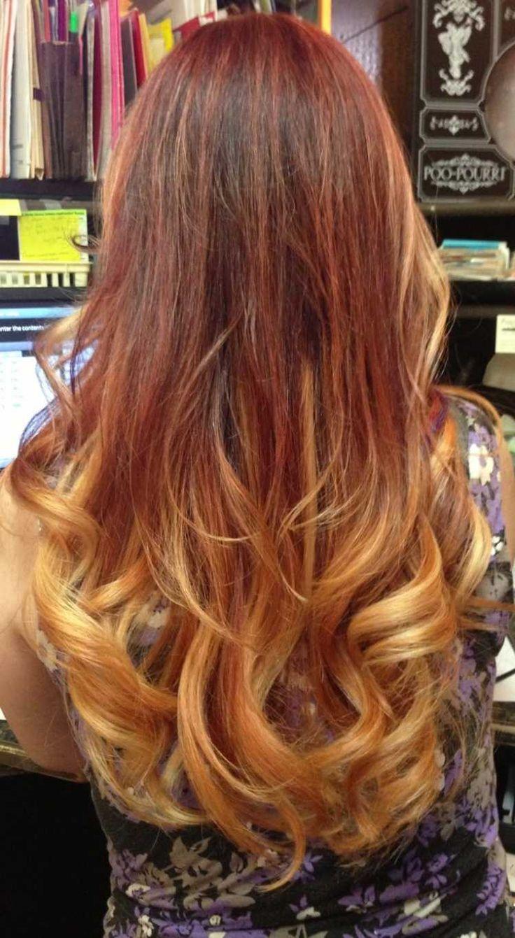 cheveux longs boucls avec des mches blondes et caramel cuivr - Coloration Blond Clair Cuivr