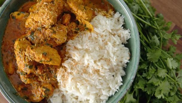 Chicken curry with basmati rice |      This easy curry teams a ready-made curry paste with a few other  secret ingredients to produce a tastebud-tastic meal.