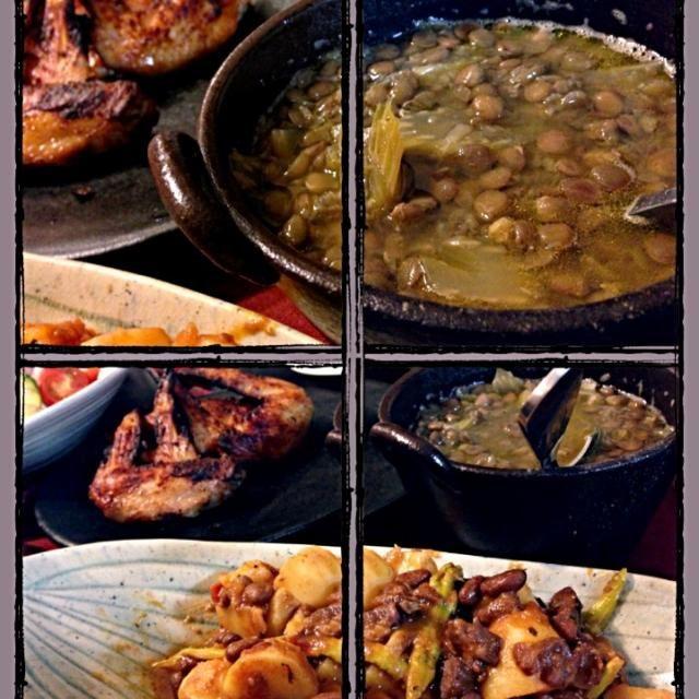 実に豆豆しい夕食でした。 #レンズ豆とセロリの汁物 #揚げじゃがとアスパラを蛸&うずら豆のラグーで煮込んだもん #ドミニカングリルチキン #グリーンサラダ もちろん全てワンプレートに盛り、ご飯にかけてカオス食べで レンズ豆の汁物はカリブの味付けに、何を血迷ったか隠し味に醤油入れたら……なんか、イケました✨ - 190件のもぐもぐ - Mr.bean dinner by romie