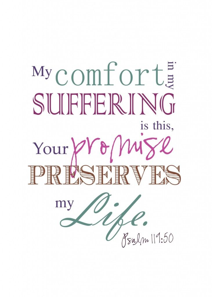 My comfort in my suffering is this, your promise preserves my life. Psalm 119:50