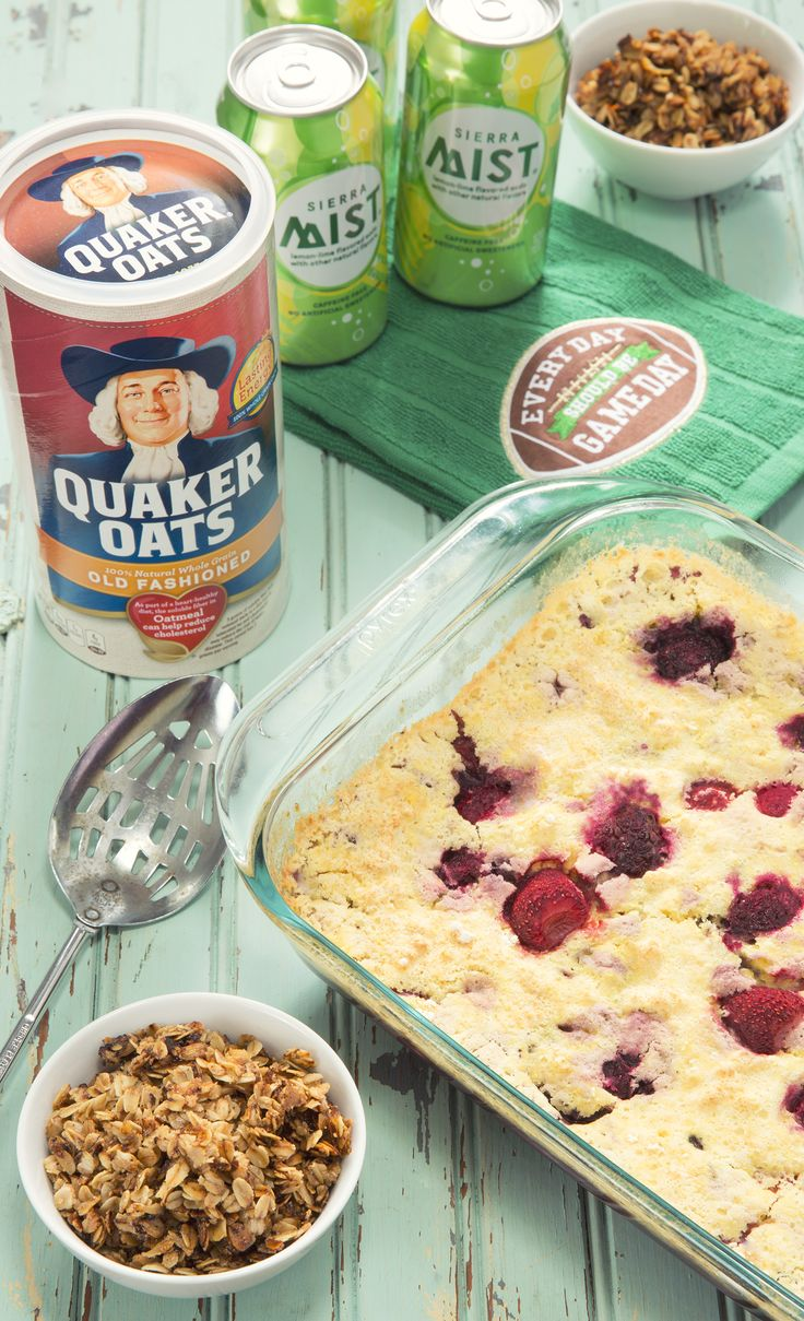 This Simple Berry Crumble Cake takes only 3 ingredients – Sierra Mist, cake mix, and frozen berries! Top it off with whipped cream and a Quaker Oats Crumble, it's delicious! What fun game day recipe can you whip up? Submit yours using #GameDayGrubMatchEntry using 2+ @PepsiCo products for a chance to win $1,500 and other great prizes! #sponsored