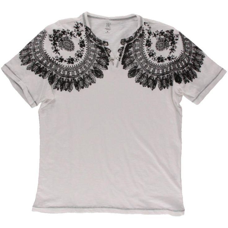 INC Mens Printed Henley Casual Shirt