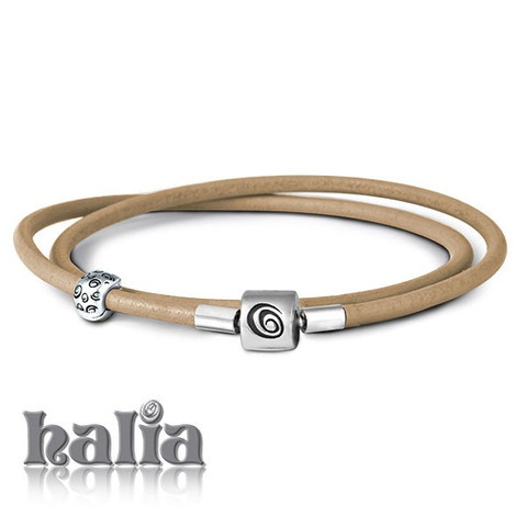 Leather Double Wrap Bracelet (black, dark brown, lavender, light brown - 16 or 17 inches): Wear even more charms, or create some space with the double wrap leather Halia bracelet. Comes complete with a safety clip to keep your charms safe whilst open. A more casual look for your Halia charms, it accepts charms from most competing bead-style charm bracelets. Sterling silver, hypo-allergenic and nickel free.      $56.00