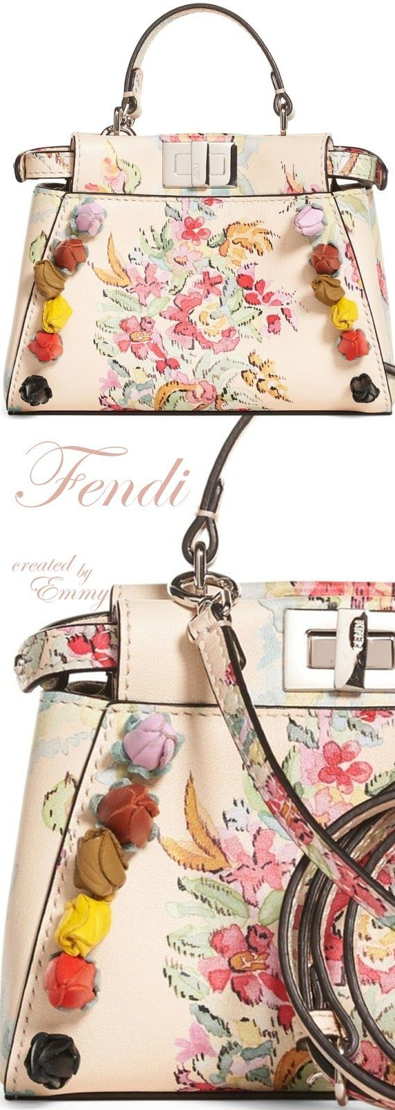 Brilliant Luxury♦Fendi Candy Colours Spring 2017♦Micro Peekaboo Floral Appliqué Leather Satchel