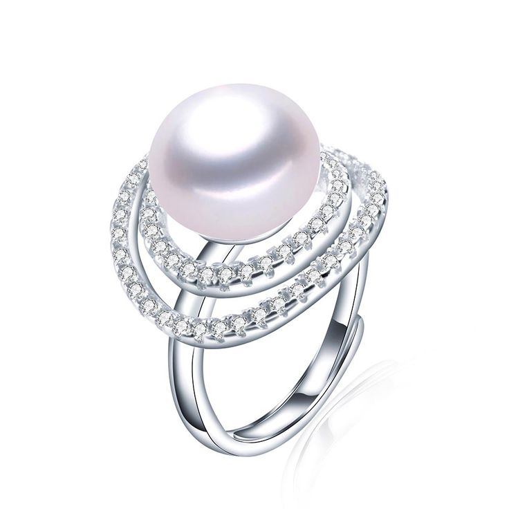 Big Size 11-12mm natural freshwater pearl rings for women top quality Shiny Zirconia Wedding Party White Gold Plated Jewelry