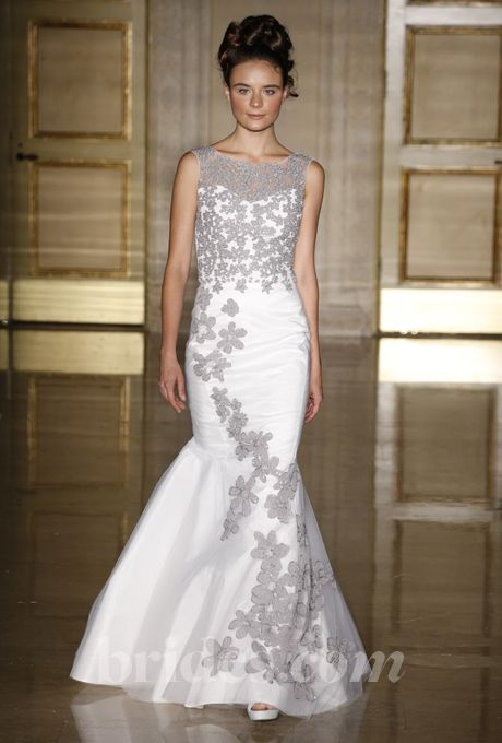 Brides.com: Wedding Dresses with Illusion Necklines from Fall 2013. Wedding Dress with Illusion Neckline: Douglas Hannant. Gown by Douglas Hannant  See more Douglas Hannant wedding dresses in our gallery.