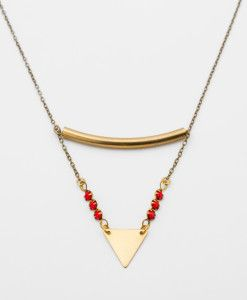 YAY - You Are Young // L'oreille Absolue - Sautoir rouge - petit triangle // neckace bijoux jewelry