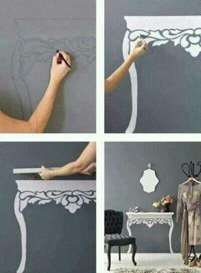 mesa, aparador, pintura, decoração, prateleira