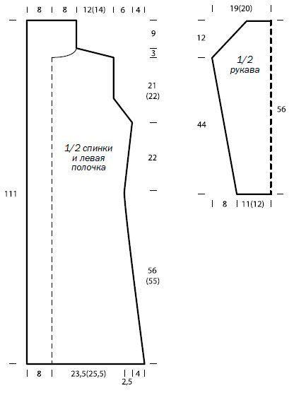 Схема вязания удлиненное пальто простого кроя раздел вязание спицами для женщин пальто