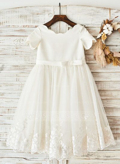 [US$ 62.49] A-Line/Princess Knee-length Flower Girl Dress - Satin Short Sleeves Scoop Neck With Bow(s)