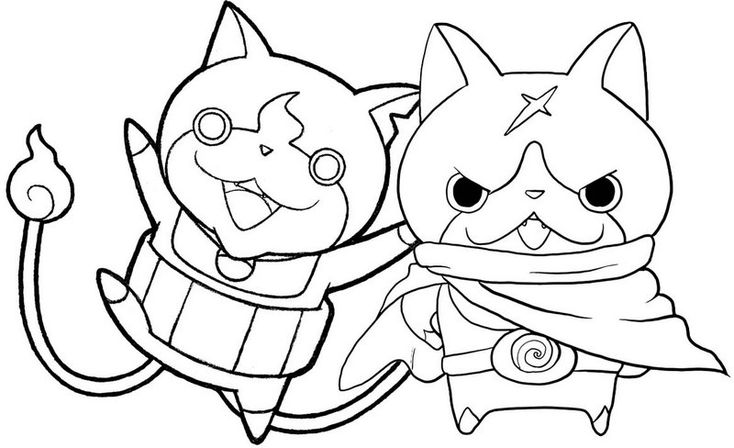 hovernyan and jibanyan coloring yo kai watch page | Kai ...