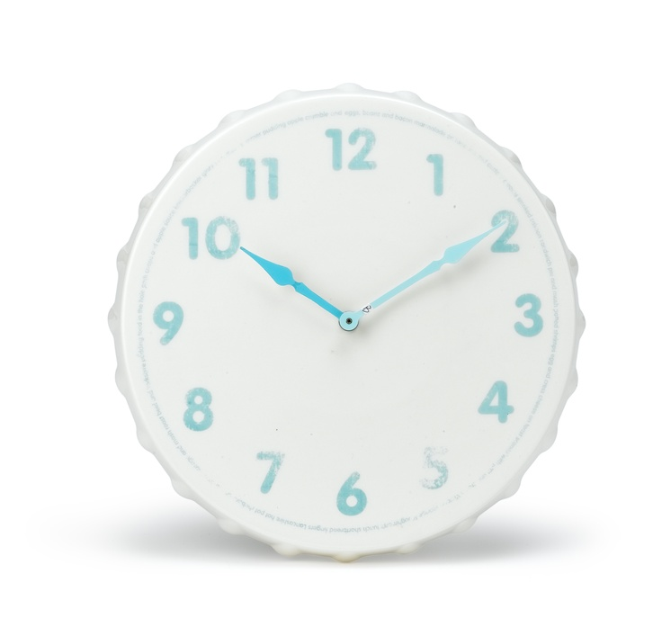 Our brand new Jme vintage style ceramic wall clock (£40) will look perfect in any kitchen. The quaint clock face is printed with Britain's best-loved dishes around the edge.