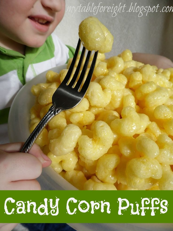 Candy Corn Puffs  Source: Mitzi H.   My husband and kids all love this snack.   Ingredients:   1 pound butter  4 tblsp water  1/...