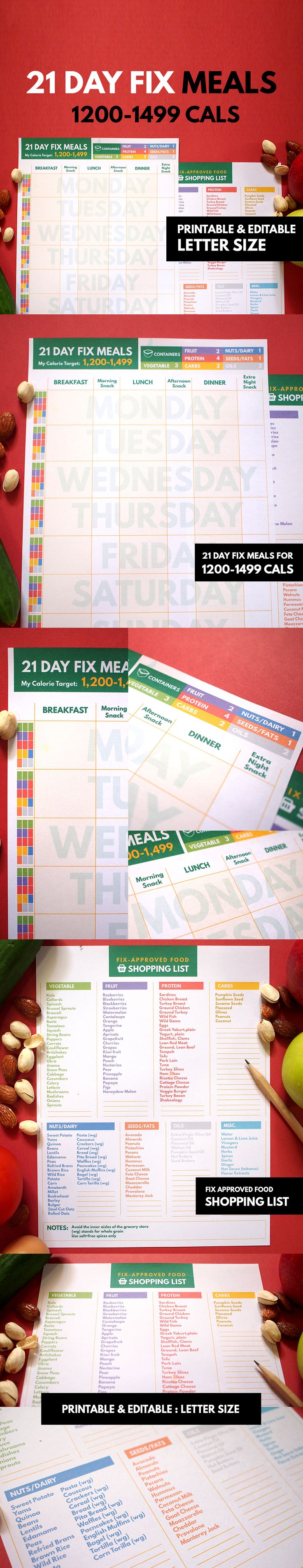 21 Day Fix Planner ALL IN ONE ▹ for 1,200-1,499 calorie range Printable & Editable  This is COMPLETE planner for helping you reaching the GOAL while completing a BEACHBODY 21-Day Fix plan.  These are Editable PDF files so you can put your information before print out or write on it later. Minimal Layout and Colorful design to bright up and encourage you to keep WORKOUT until you're fit!