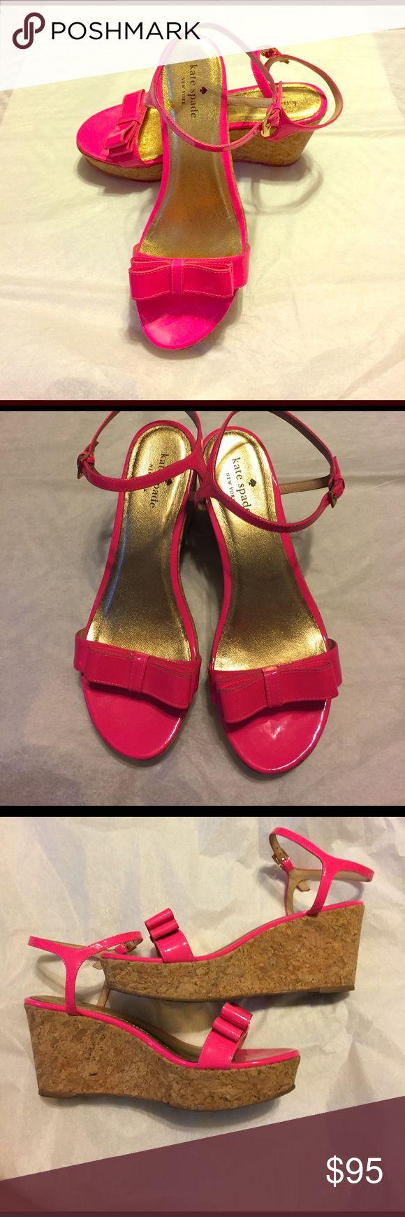 "Kate Spade Pink Wedge Heels Gently worn. Good condition! 3"" Heel. Open to reasonable offers kate spade Shoes Wedges"