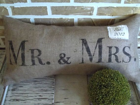 Mr & Mrs Burlap Pillow  with Est Date by SimplyFrenchMarket