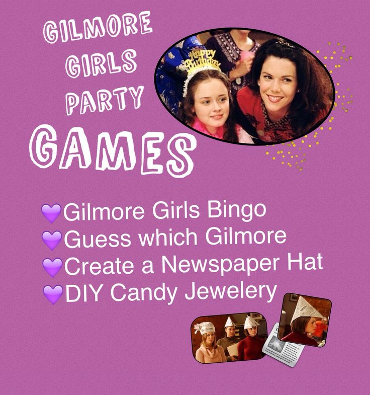Gilmore Girls Party Games (obviously as well as watching episodes of the show!) Also a Trivia Quiz sort of like Jeopardy with different themed question blocks (such as questions about Lorelei or questions related to Rory).