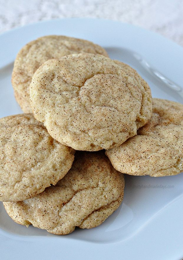 These are hands down the best Snickerdoodle cookies I've ever had. They are SO good. From Thirty Handmade Days