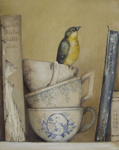 Trompe L'Oeil Painting Old Shabby Books Blue Transferware Teacups Finch Bird | eBay Painted by Cindy Hilliard. I love her paintings.