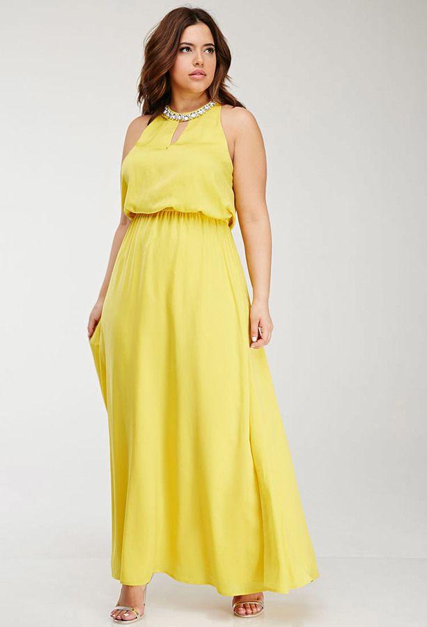 beautiful yellow plus size Rhinestone-Embellished Maxi ... - photo #49