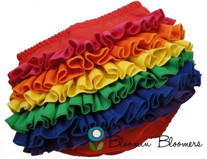 These are so freakin' cute - Rainbow Mini Ruffle Panty Diaper Cover Bloomers by BloominBloomers @Etsy