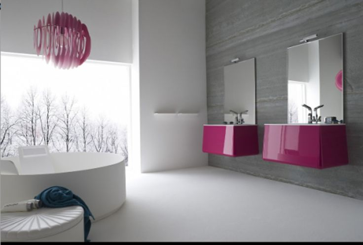 Minimalist Modern Bathroom Design comes with Sweet Glossy Purple Cabinet With Under-Mount Sink and Freestanding Round White…